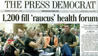 front page of Santa Rosa Press-Democrat August 31, 2009